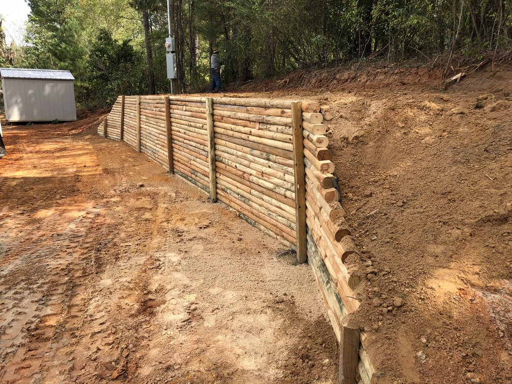 retaining wall in a yard