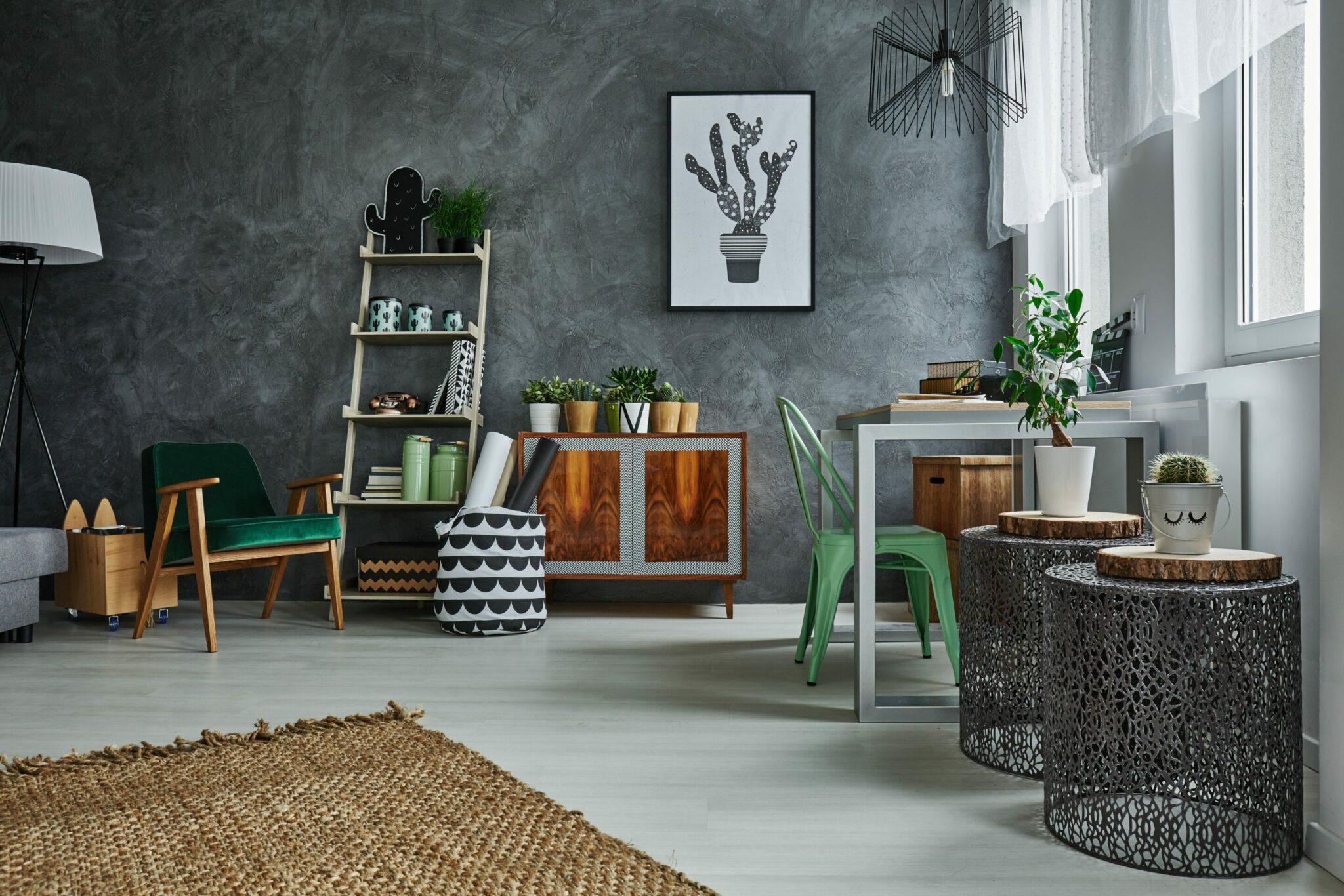 Room with grey wall stucco